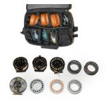 A Collection Of Various Fly And Casting Reels together with spare spools by makers including