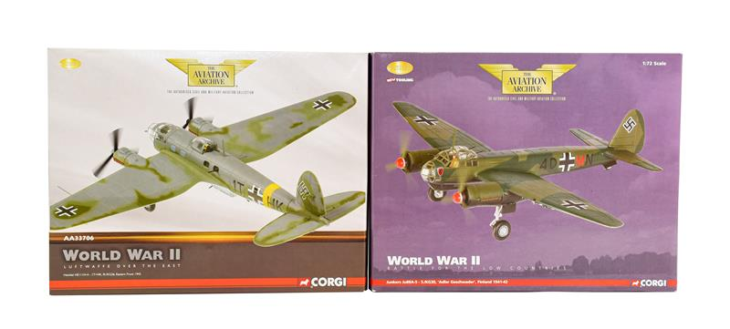 Corgi Aviation Archive 1:72 Scale Two Luftwaffe Aircraft AA36702 Junkers Ju88A and AA33706 Heinkel