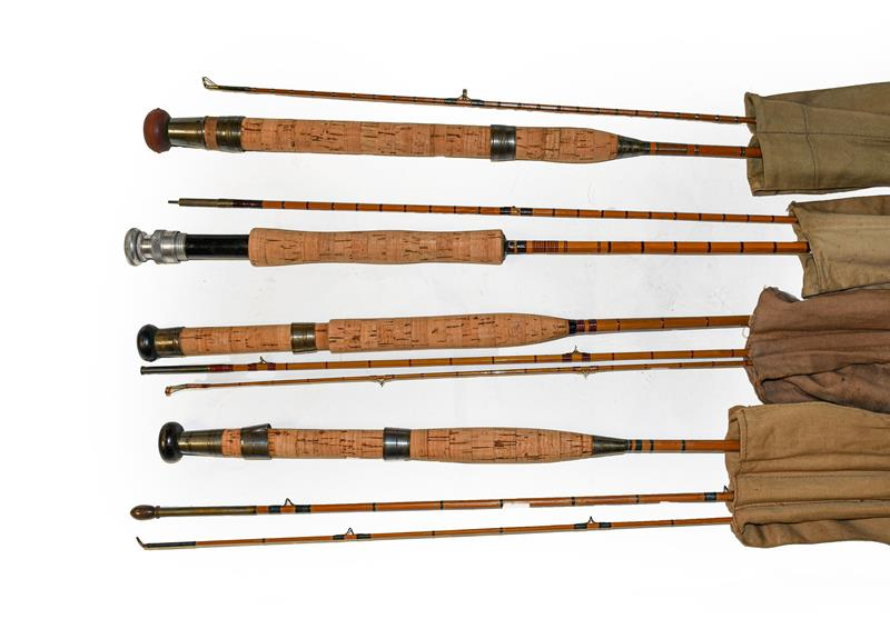 A Collection Of Six Various Cane Rods mostly unbranded to include three 9' fly rods, a 7' spinning