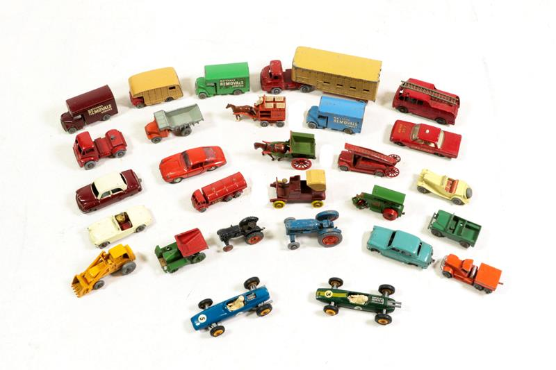 Matchbox 1-75's Esso tanker red with gold trim MW (G) Road roller gold trim (G), three Removals vans
