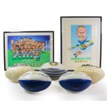 Leeds Rugby League FC Two Signed Prints (i) caricatures of players with multiple autographs (ii)