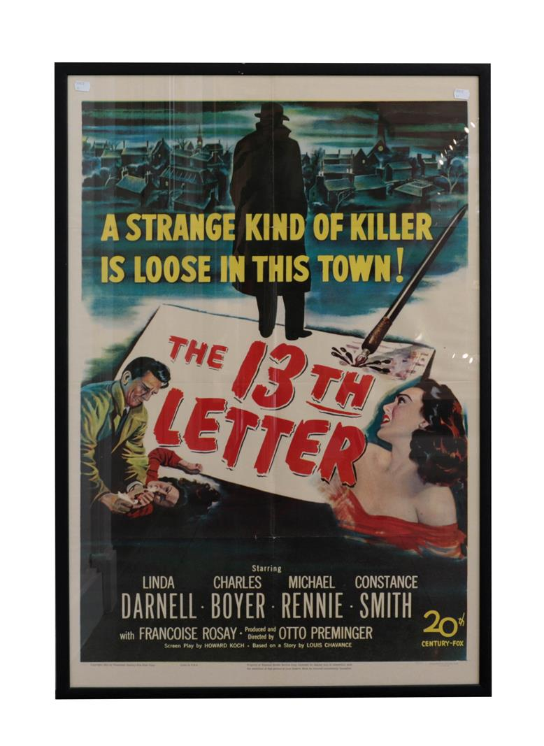 Limited Edition Film Poster Print 'The 13th Letter' 51/132 26 1/2x40 1/2'' 67x103 cm (framed and