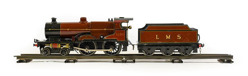 Bassett-Lowke O Gauge Clockwork 4-4-0 LMS 1190 Locomotive And 6-Wheel Tender (repainted to a