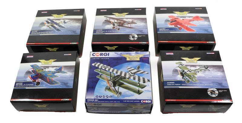 Corgi Aviation Archive 1:48 Scale WWI Group AA37801 Albatross DV, AA38104 Sopwith Camel, AA37802