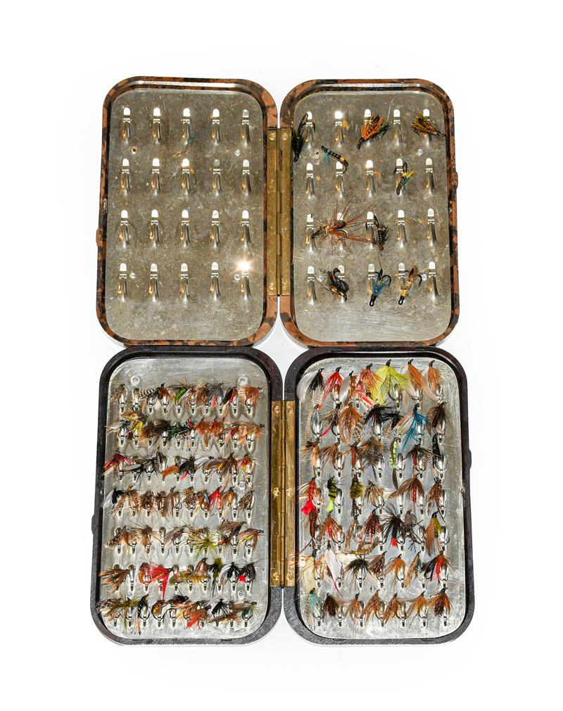 A Hardy Neroda Bakelite Fly Box fitted internally with spring clips and another similar Hardy Neroda