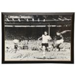 Geoff Hurst Signed Photograph b/w showing Hurst scoring the fourth game v West Germany in the 1966