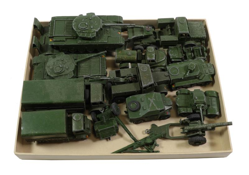 Dinky Military assorted 1950's examples including Tank transporter and tank, Recovery tractor, Water