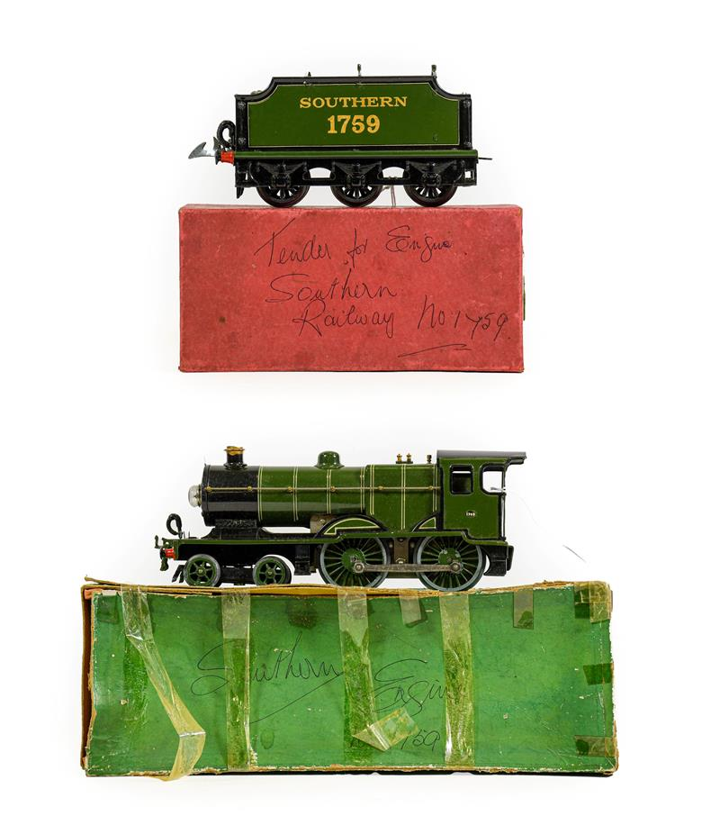 Hornby Series O Gauge E220 Special Locomotive 4-4-0 Southern 1759 20 volt, with tender 1759 (both E,