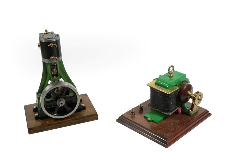 Stationary Steam Engine single vertical with flywheel on wooden base 10 1/2'', 27cm high together