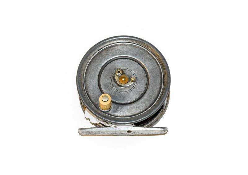 A Hardy Patent Uniqua 3 3/4'' Wide Drum salmon Fly Reel with horseshoe latch, ivorine handle and