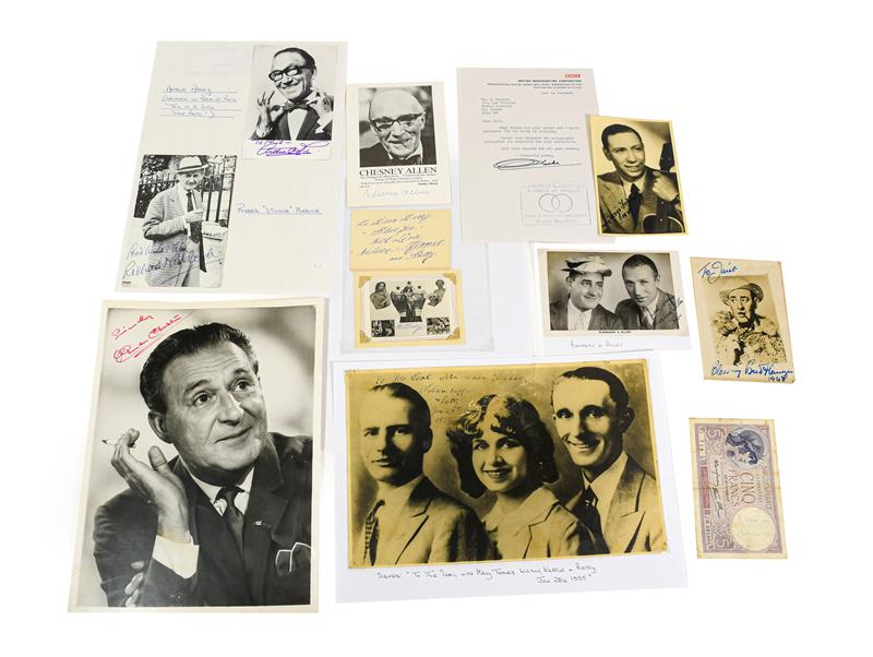 Various Autographed Photographs Charlie Chester with letter from BBC, Michael Bentine, Gracie Fields
