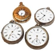 Three silver open faced pocket watches with two signed Fattorini & Sons Bradford and Waltham,