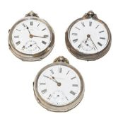 Three silver open faced pocket watches, signed Fattorini & Sons Bradford, one unsigned and the other
