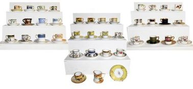 ~A quantity of coffee cans and saucers from various factories including Royal Worcester, Royal Crown