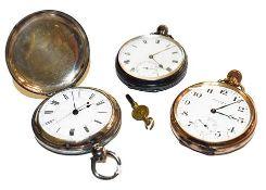 A silver open face pocket watch; a full hunter silver pocket watch and a gold plated Waltham open