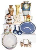 ~A tray of pottery and china including pair of Charlotte Rhead bowls, an Art Deco Beswick model of a