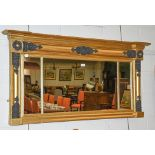 A Regency sectional break-front over-mantle mirror with black painted embellishment on a gilt frame,