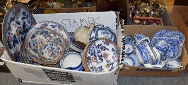 ~A 19th century sprigged stoneware teapot dated 1899, various blue and white dinner wares