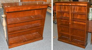 A reproduction mahogany open bookcase, 97cm by 32cm by 107cm together with another double-fronted
