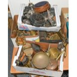 Four boxes of assorted 19th century and later metalwares including brass copper and silver plate,