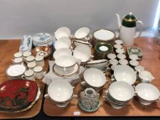 A collection of ceramics, including a Spode coffee service, with green and gilt borders, a further