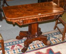A George IV mahogany foldover card table, 2nd quarter 19th century, the gadrooned border and