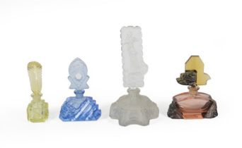 Four Differing Glass Scent-Bottles, First Quarter 20th Century, in differing coloured glass, some