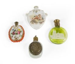 Four Various Scent-Bottles, comprising: a green glass example the front with a depiction of