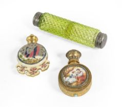 A Zsolnay Pottery Scent-Bottle, Circa 1880, the body circular and with shaped apron, with gilt-metal