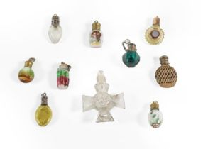 A Collection of Ten Various Miniature Scent-Bottles, including: a George III silver-gilt and