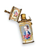 A George III Gilt-Metal Mounted Enamel Etui With Scent-Bottle, Probably South Staffordshire, Circa
