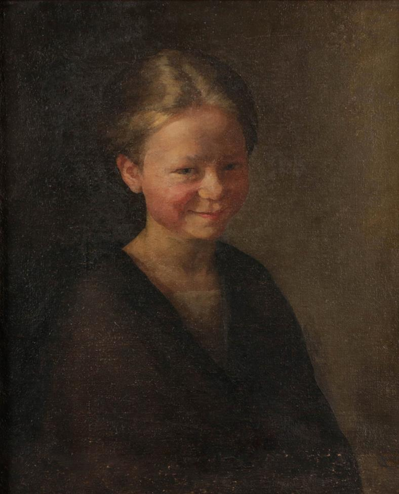 Scottish School (late 19th century) Portrait of a young girl smiling Oil on canvas, 44cm by 36.5cm
