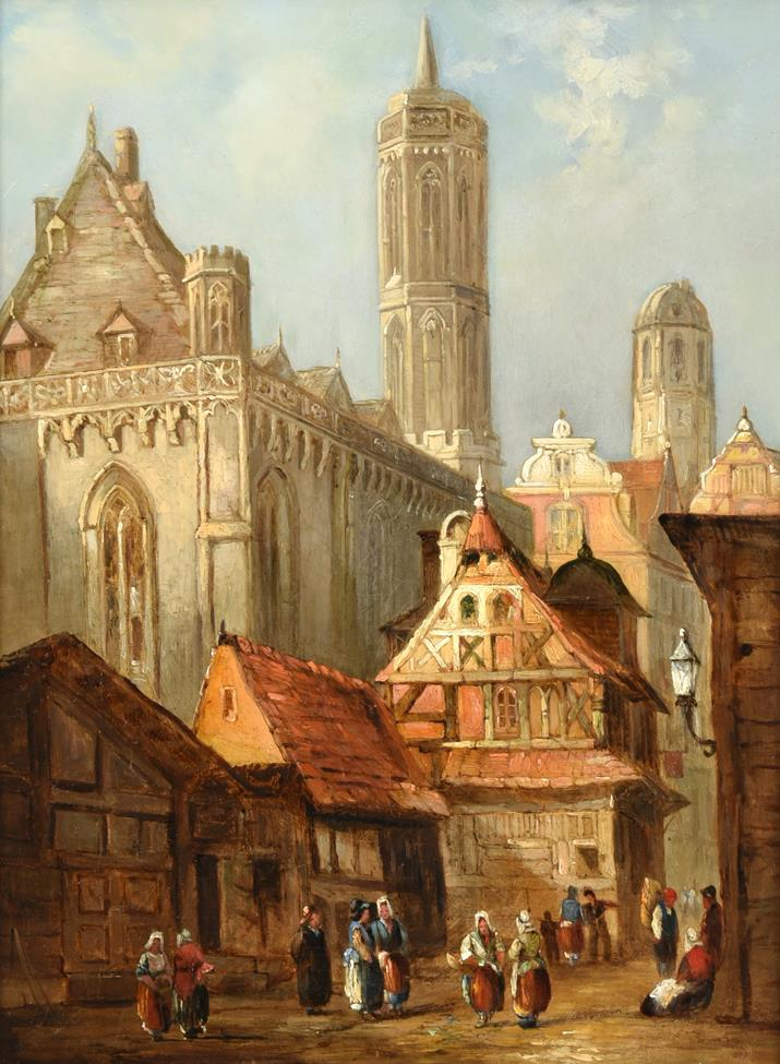 Attributed to Henry Thomas Schafer (1854-1915) French Cathedral townscape Oil on canvas, 39.5cm by