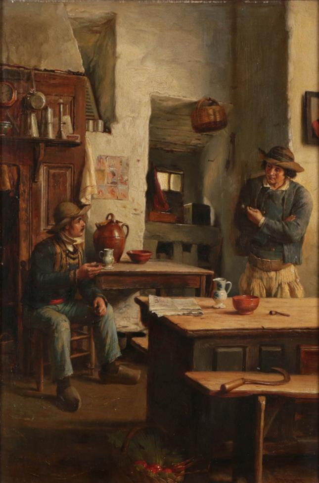 J Pratt (19th century) The Discussion Signed, oil on panel, 46cm by 31cm