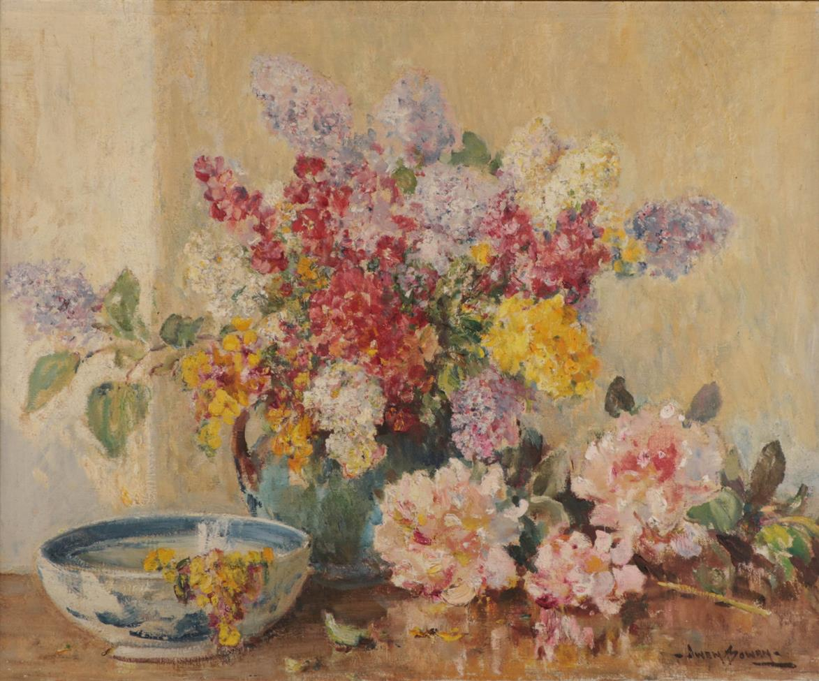 Owen Bowen ROI (1873-1967) ''Summers early flowers'' Signed , oil on canvas 62.5cm by 75.5cm Sold