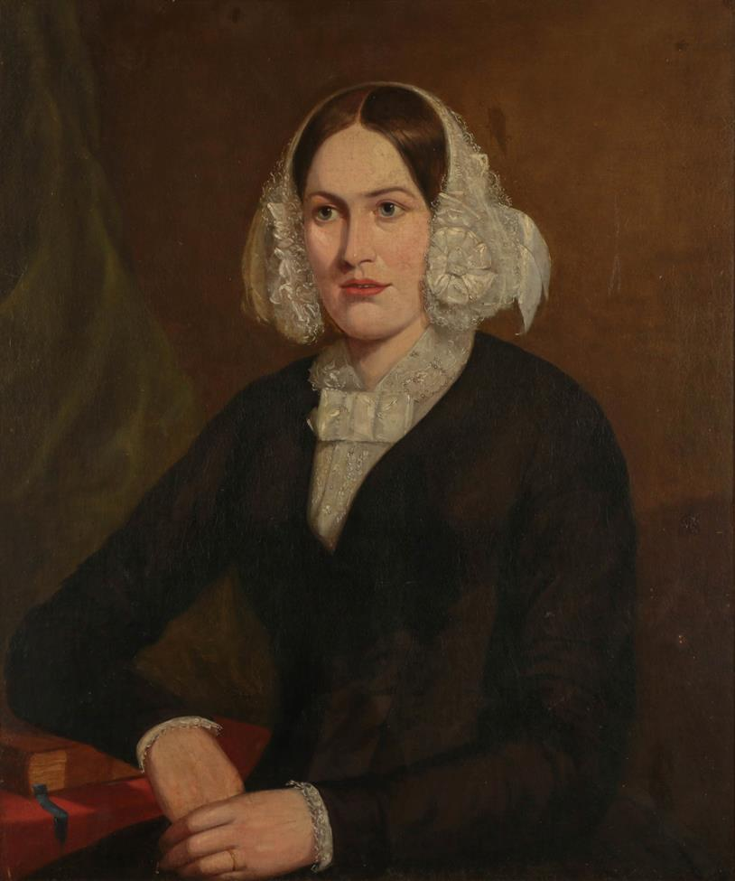 English School (19th century) Portraits of a lady and gentleman, bust length, seated Oil on