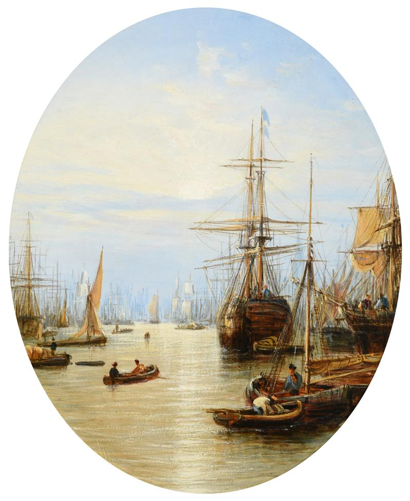Francis Maltino (fl 1847-1867) Ships docking on the Thames Monogrammed, oil on board, 13cm by