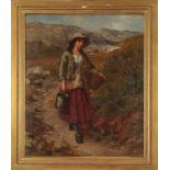 Edward John Cobbett (1815-1899) Country girl carrying a pail and basket in a mountainous landscape