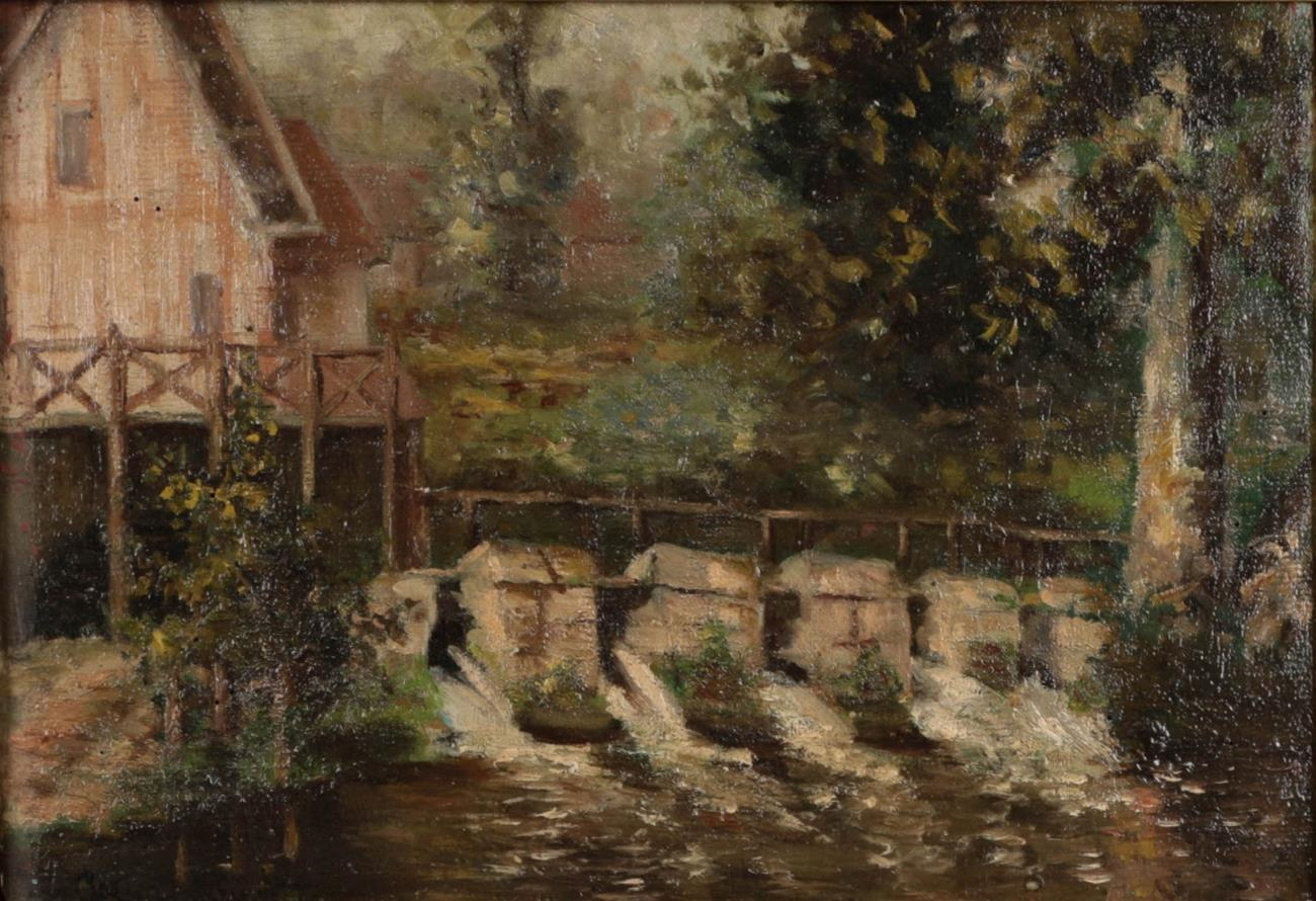 """Louis Aston Knight (1873-1928) American. """"Cottages on the bank of a river tributary"""" Signed, oil o"""