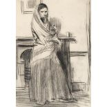 Augustus Edwin John OM RA (1878-1961) Sketch of Dorelia McNeill in an interior Charcoal, 34cm by