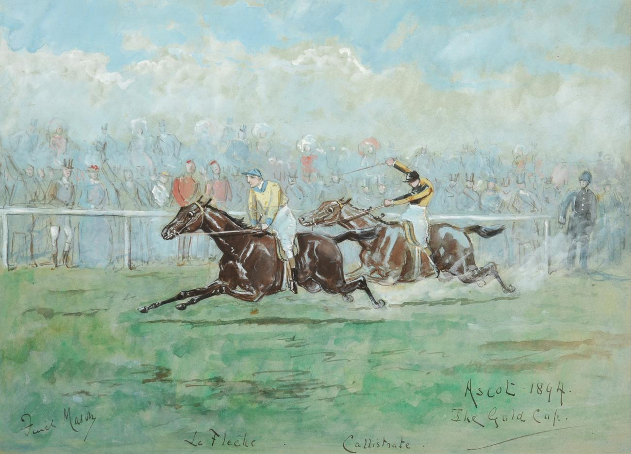 George Finch Mason (1850-1915) Ascot the Gold Cup, 1894 Signed and inscribed, watercolour,
