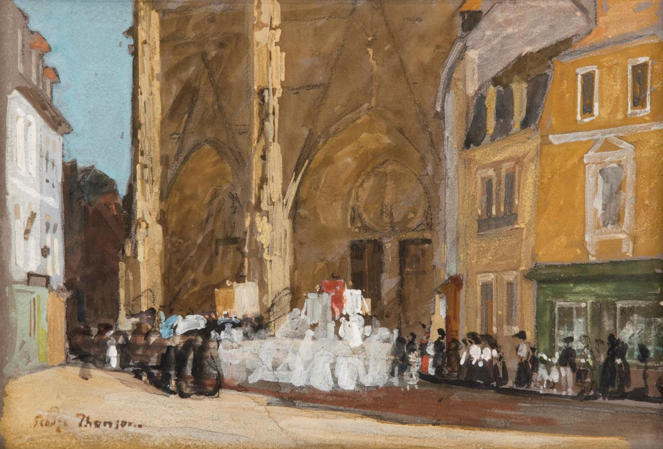 George Thomson NEAC (1860-1939) ''The Procession of the Assumption'' Signed, mixed media, 25.5cm by