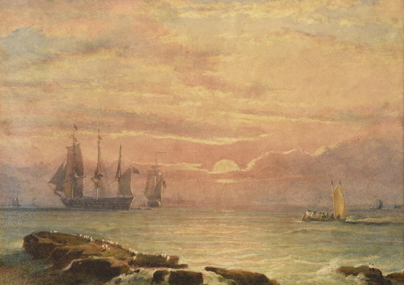 English School (Circa 1850) Ships at Sunset Watercolour, 14.5cm by 20.5cm