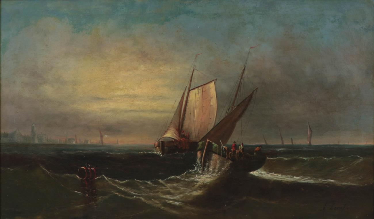A Lenof (19th/20th century) Fishing vessels off a coast Signed, oil on canvas 74.5cm by 125.5cm