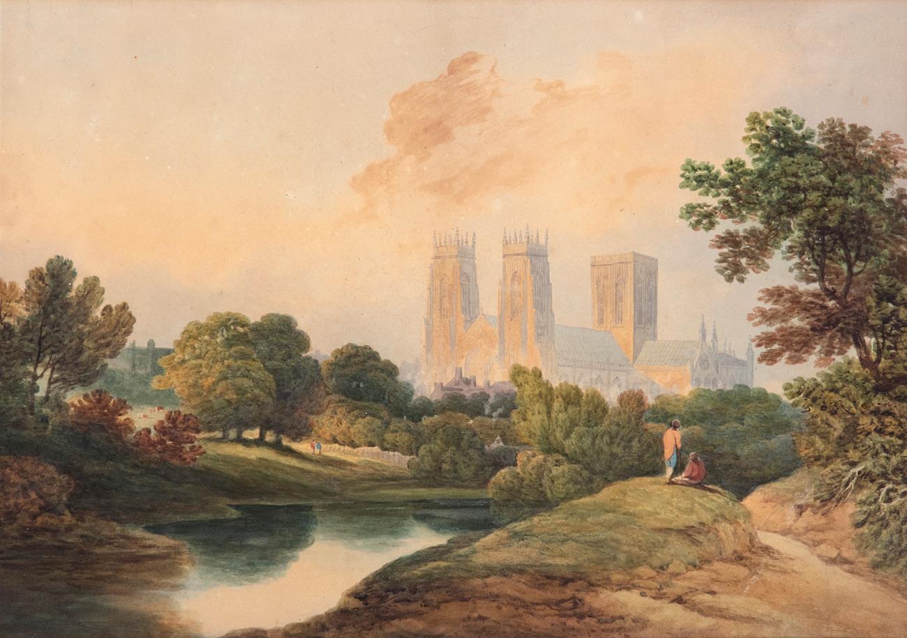 Circle of Francis Nicholson (1753-1844) York Minster Watercolour, 38cm by 54cm