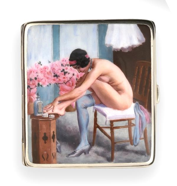 An Alpaca and Enamel Erotic Cigarette-Case, First Quarter 20th Century, oblong, the hinged cover