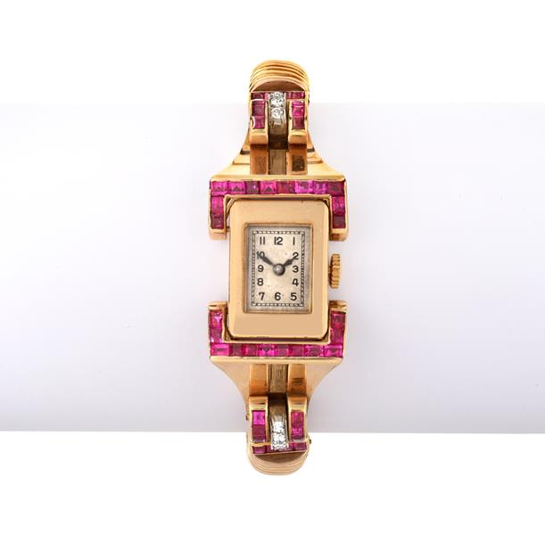 A Retro Lady's Diamond and Synthetic Ruby Cocktail Wristwatch, circa 1945, lever movement,