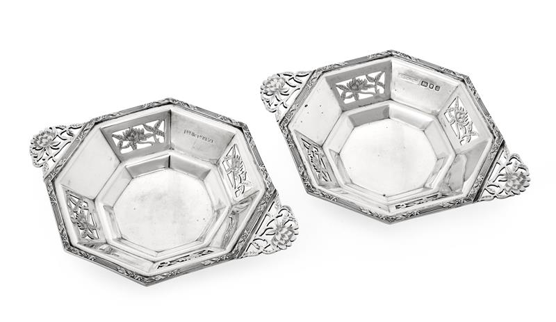 A Pair of George VI Silver Dishes, by Asprey and Co. Ltd., London, 1938, each octagonal and with