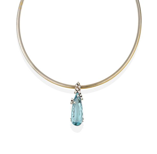 An Aquamarine and Diamond Pendant on Chain, the pear shaped aquamarine overlaid with round brilliant