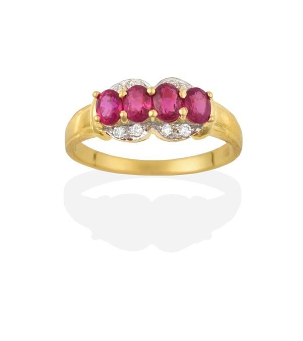 A Synthetic Ruby and Diamond Ring, four oval synthetic rubies in yellow claw settings, within a